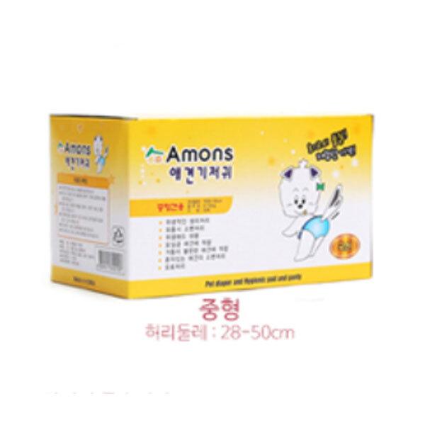중형견 강아지 아몬스 암컷용 매너벨트 기저귀 팬티 소변 애견 생리대 10매