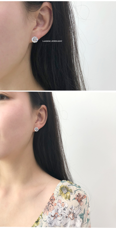 14k 화이트 큐빅 기본 침 귀걸이 8mm 10mm - 라샘 주얼리, 35,000원, 골드, 14K/18K