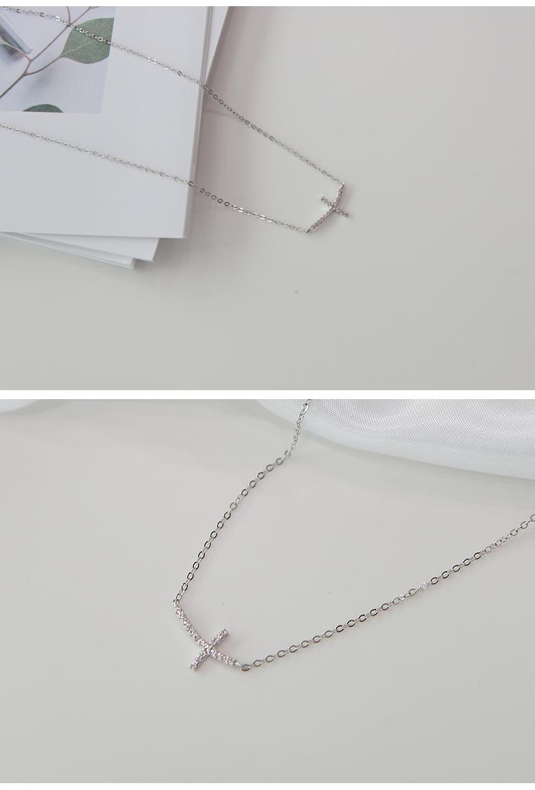 14K 십자가 큐빅 일체형 목걸이 - 라샘 주얼리, 180,000원, 골드, 14K/18K