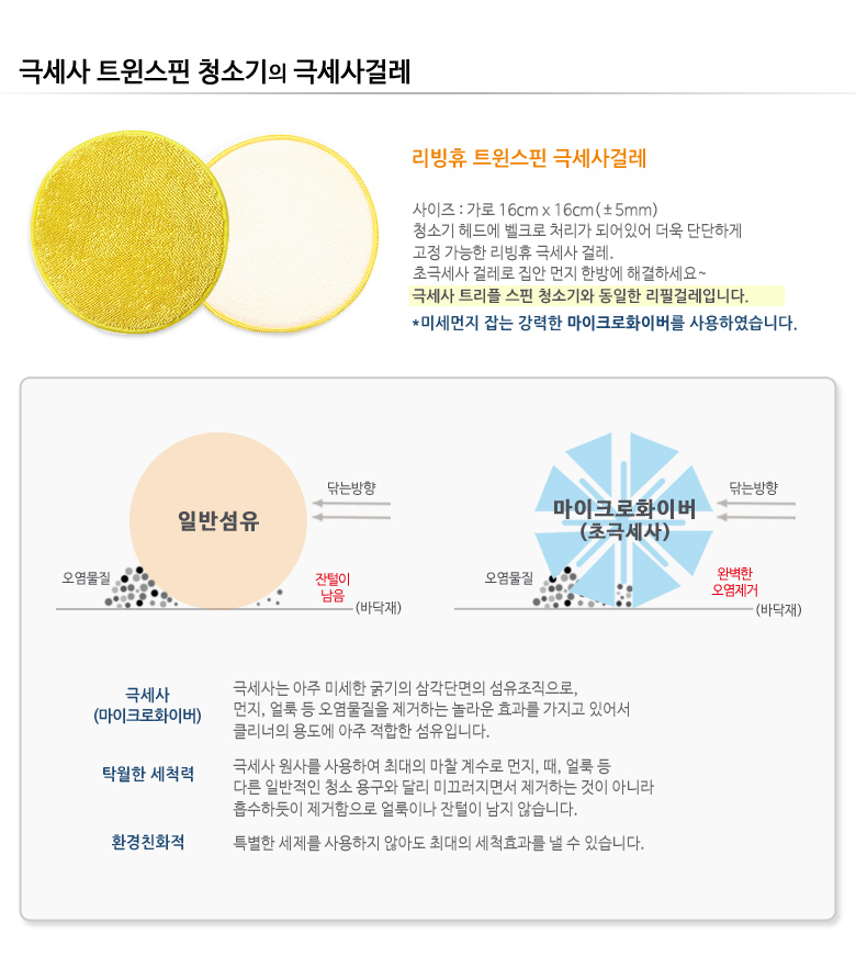 극세사 트윈스핀 청소기(스토퍼) - 리빙휴, 8,500원, 청소도구, 걸레
