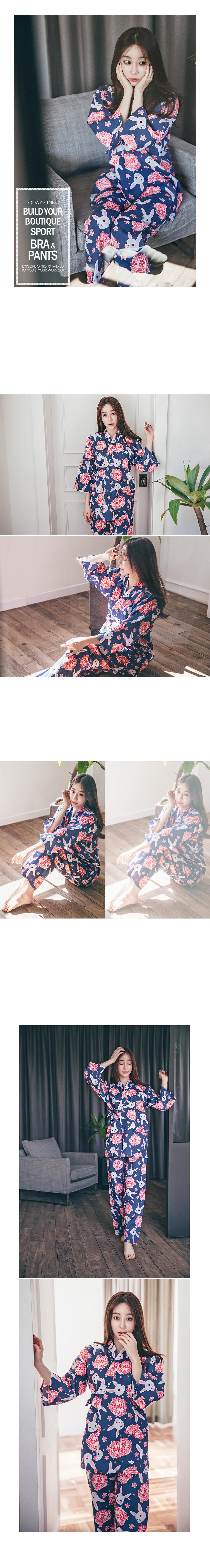 토끼 유카타 잠옷 2SET 기모노 - 로로걸, 23,900원, 잠옷, 여성파자마