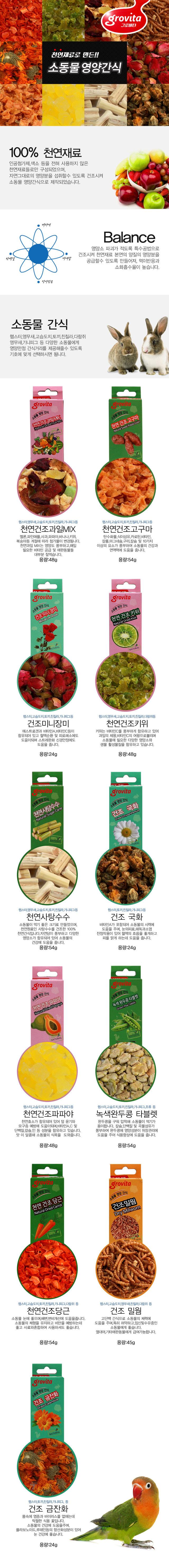 그로비타 소동물영양간식 (건조밀웜) 45g - 미미네아쿠아, 4,800원, 햄스터/다람쥐용품, 간식