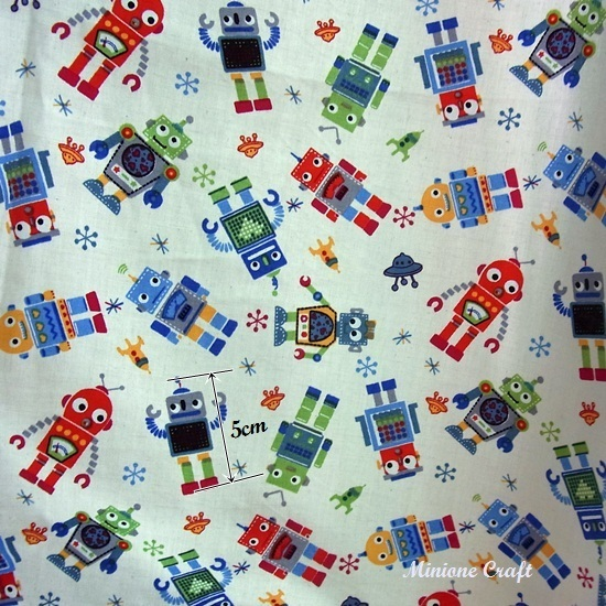 Retro robots printed cotton 100 fabric quilting half for Robot quilt fabric