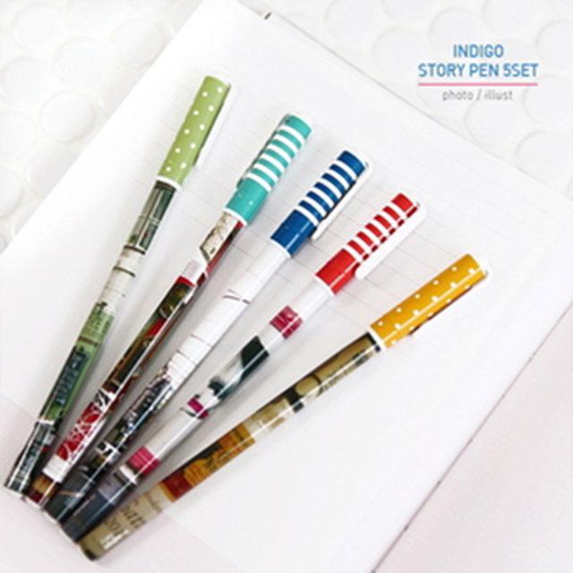인디고 스토리 펜 5세트 0.38 mm 중성펜