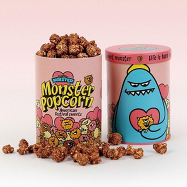 몬스터 팝콘틴 원형 틴 핑크러브 포장케이스