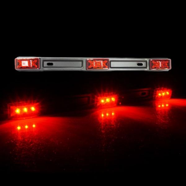 12V전용 3LED일자등 레드 낱개1개 차량폭인식