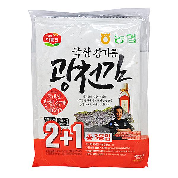 농협아름찬 국산 참기름 광천김 20g X 3봉