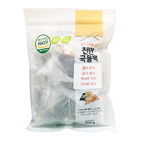 천연국물팩(건멸치+건꽃게+건다시마+건먹새우) 200g