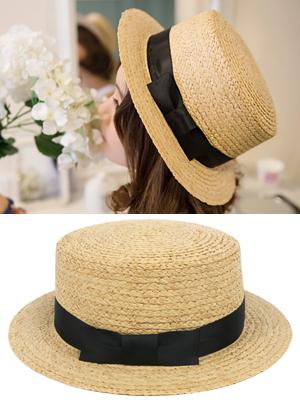 테이프 라피아 모자
