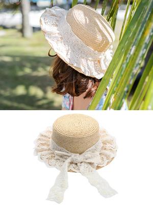 레이스 밀짚 모자