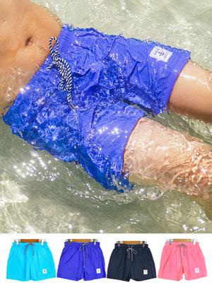 라운드 숏 수영복-블루