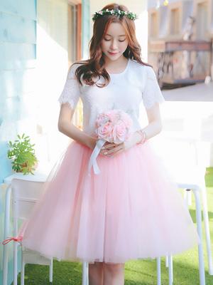 로맨틱 샤 스커트-핑크