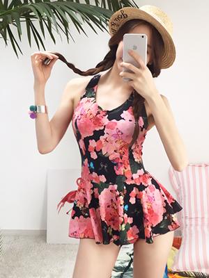 꽃과 나비 원피스 수영복