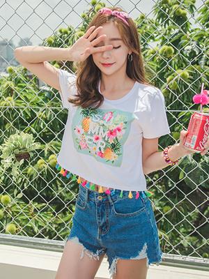 썸머 플라워 티셔츠-여자