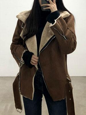따뜻한라떼-스웨이드 무스탕 자켓