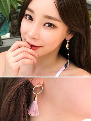 핑크 태슬 귀걸이