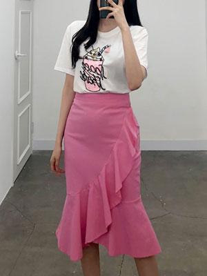 달콤한크림 세트-스팽글 티셔츠+프릴스커트 SET