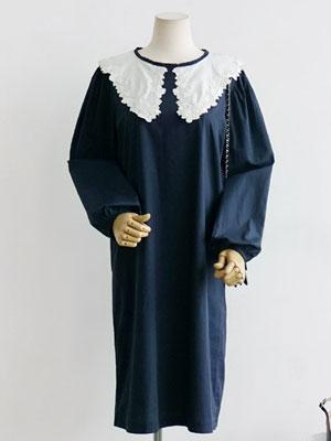 로지카라 원피스-코튼혼방 빅레이스 카라 드레스