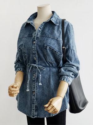 허리끈 데님남방-허리 스트랩 청셔츠