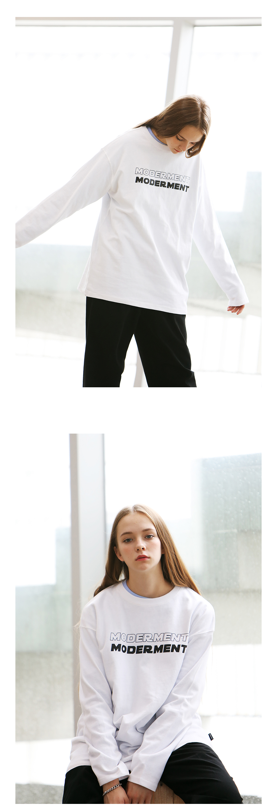[모더먼트] Unisex DOUBLE LONG SLEEVE T-SHIRTS(white)