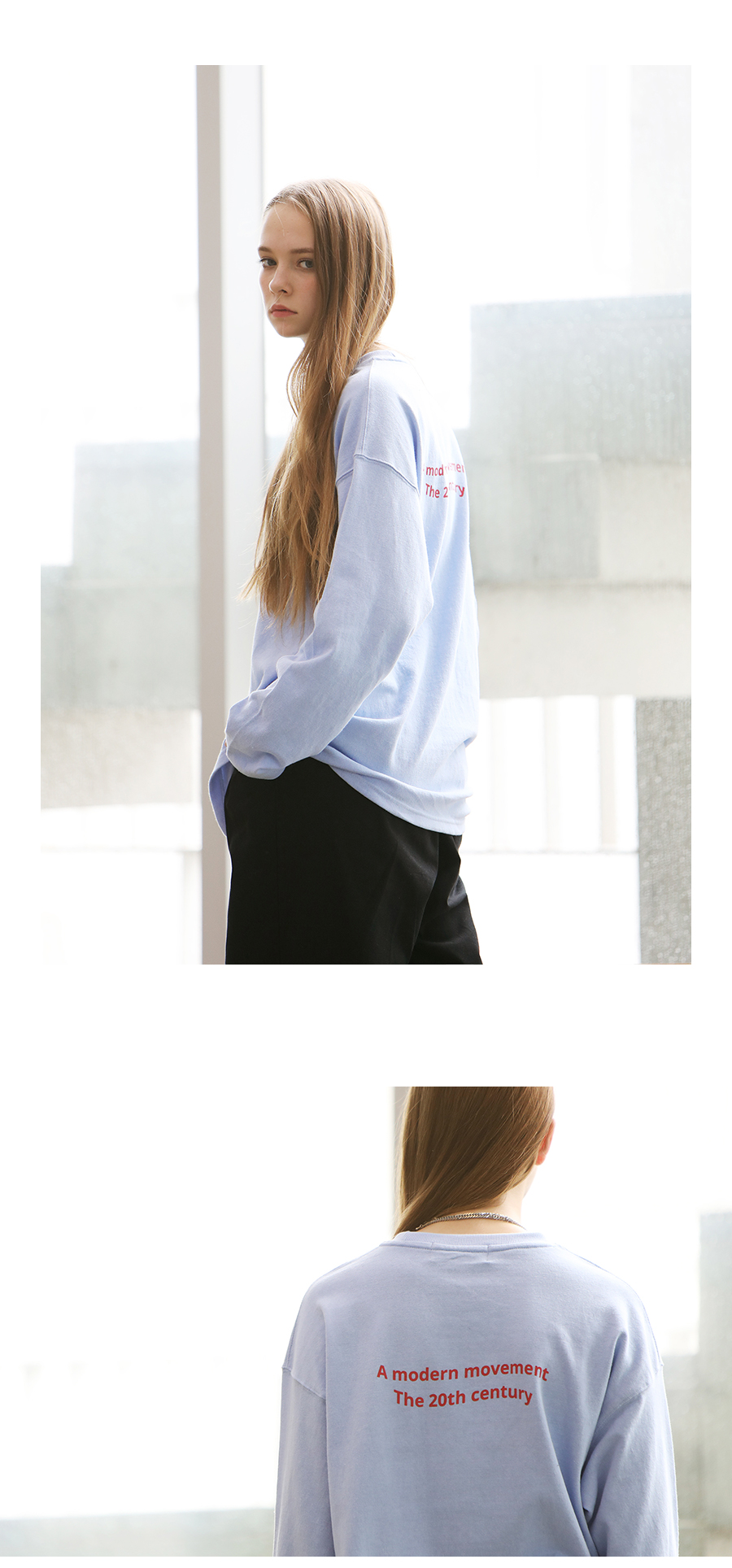 [모더먼트] Unisex PASTEL LONG SLEEVE T-SHIRTS(skyblue)