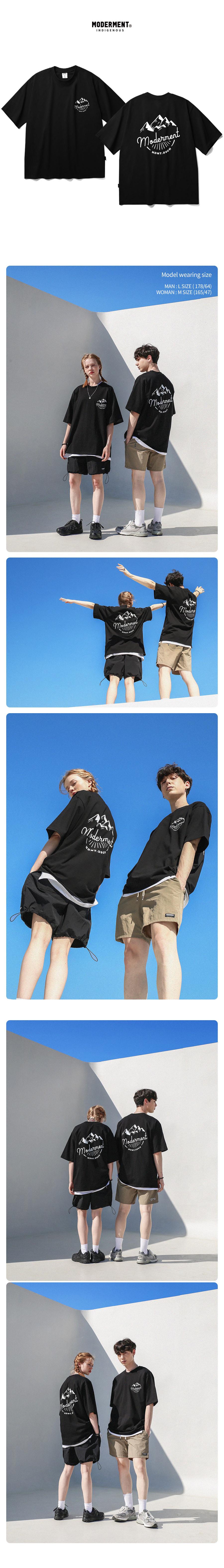 [UNISEX] 마운틴 오버핏 반팔 티셔츠 (블랙)