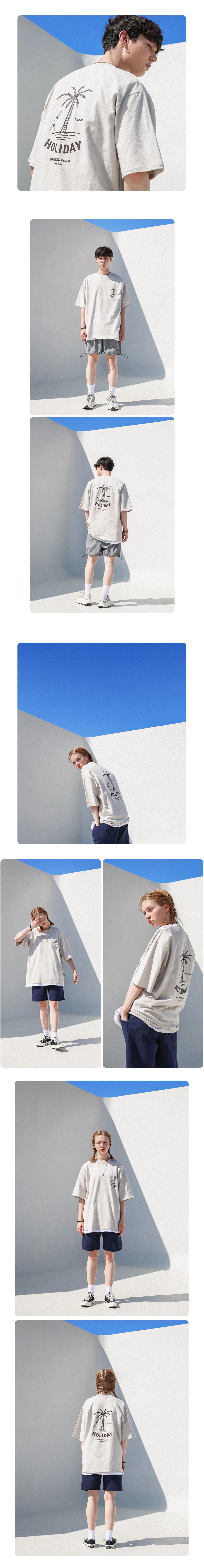 [UNISEX] 홀리데이 오버핏 반팔 티셔츠 (애쉬베이지)