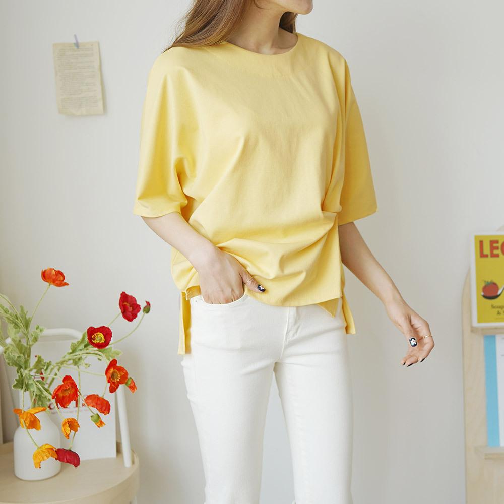 꼬임 반팔 라운드 여성 티셔츠