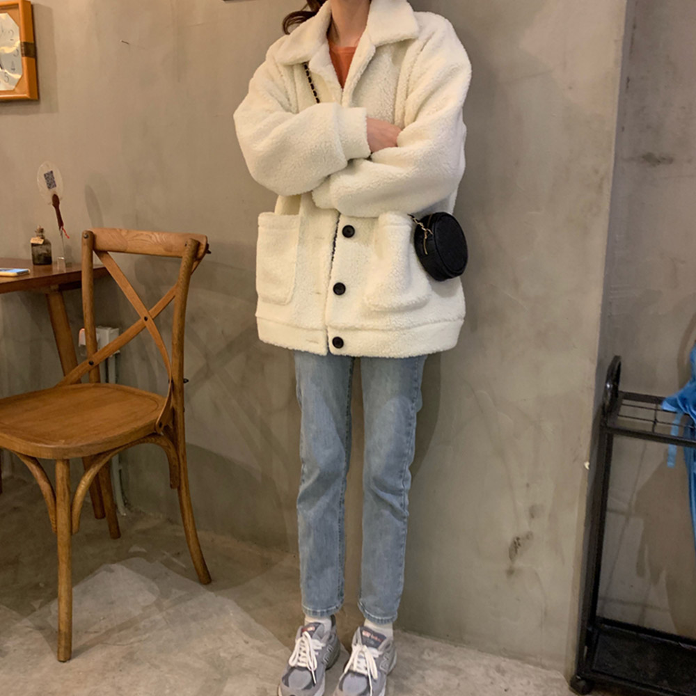 심플 캐주얼 양털 뽀글이 자켓