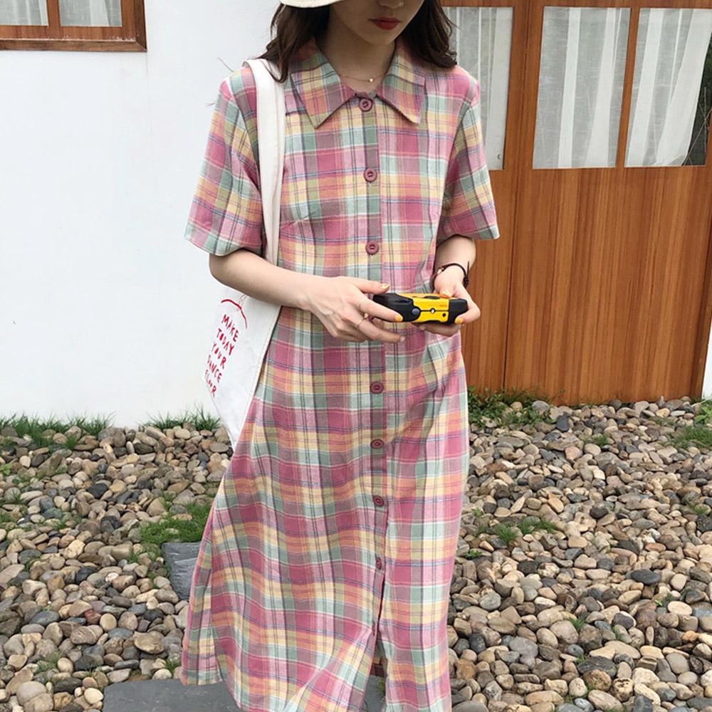 [DRESS]피치체크 롱 셔츠원피스