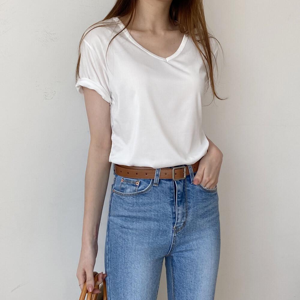 슬림핏 브이넥 반팔 면 슬림핏 티셔츠