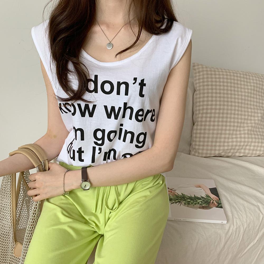 여성 슬릿 트임 레터링 민소매 티셔츠
