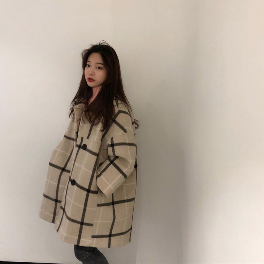 [OUTER]리윤 누빔 체크코트
