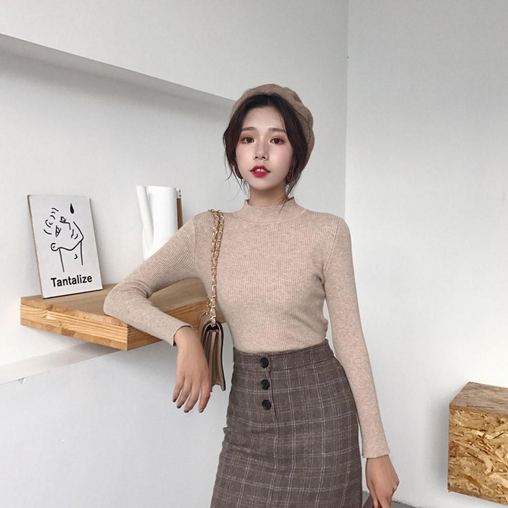 [TOP]슬림 반폴라 골지 니트