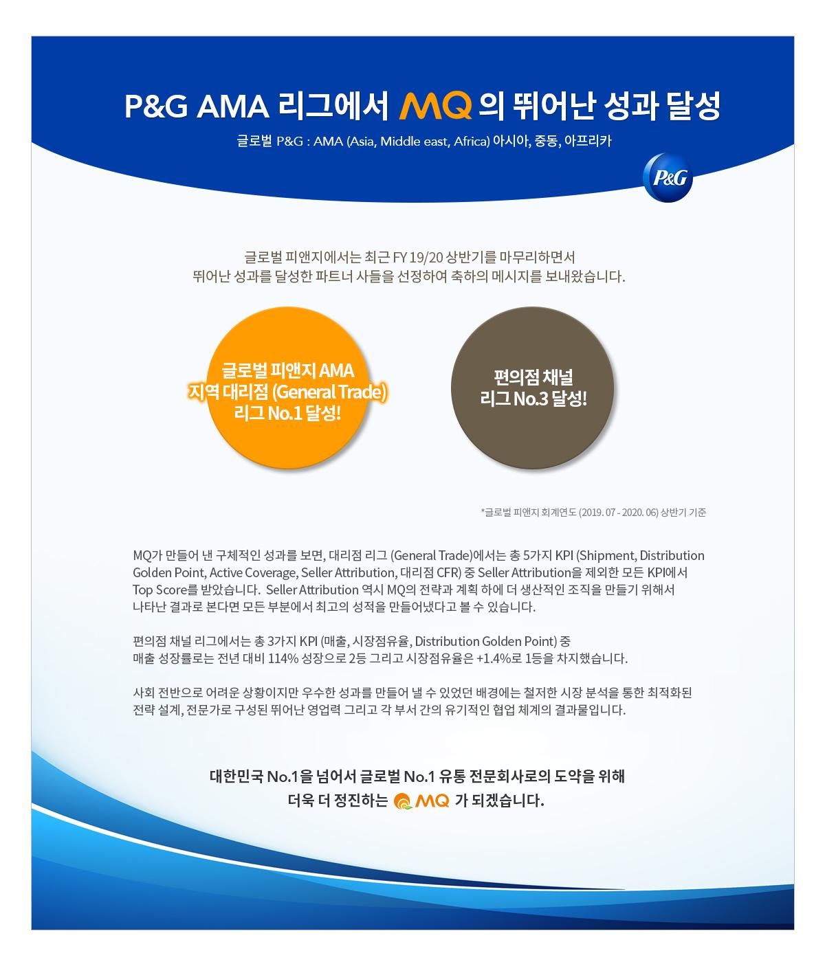P&G AMA 지역대리점 리그 NO.1 달성