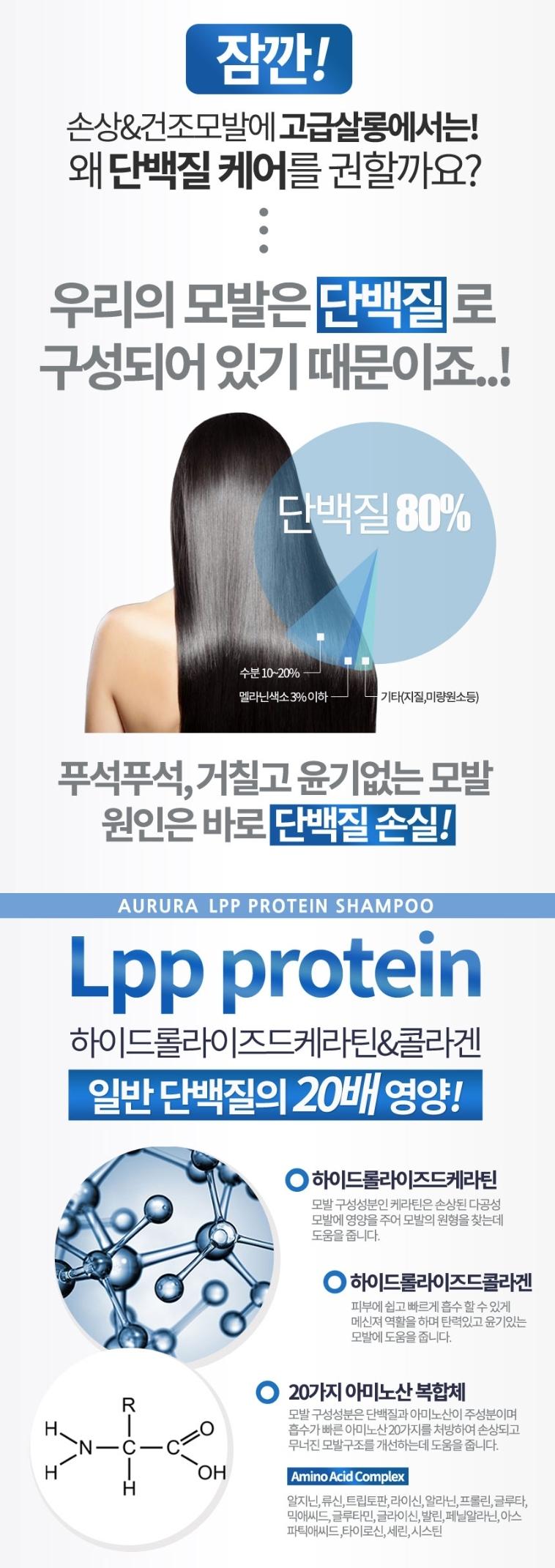 오로라 LPP 프로테인 샴푸 1000ml - 오로라, 11,700원, 헤어케어, 샴푸/린스