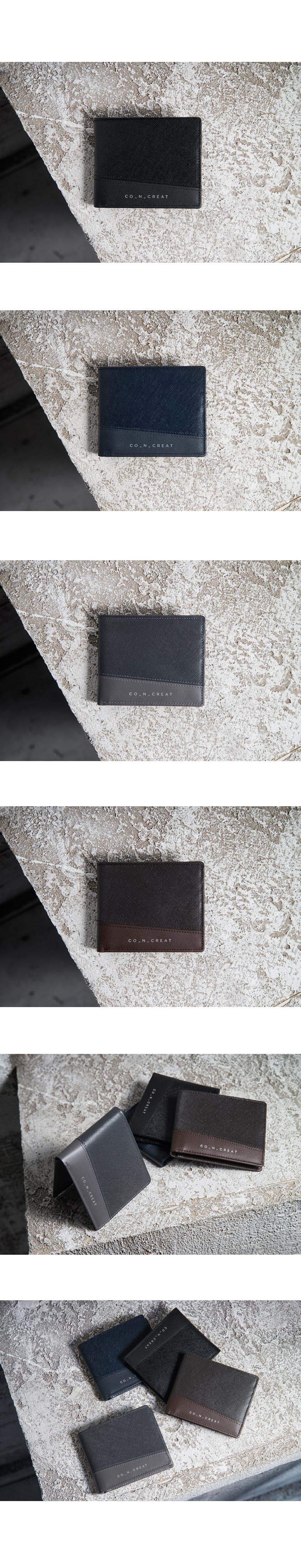 [코앤크릿] 17WDG0310C12NV 다이아그널 남성 반지갑 네이비
