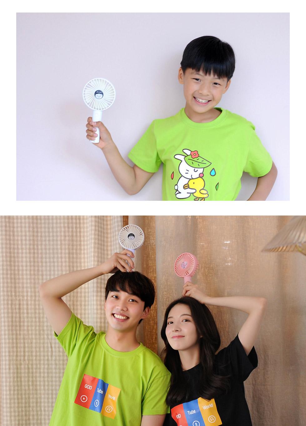 휴대용선풍기 '샬롬' 3종 어린이 사용사진 남녀노소 누구에게나 사랑스러운 디자인, 간편한 사용법