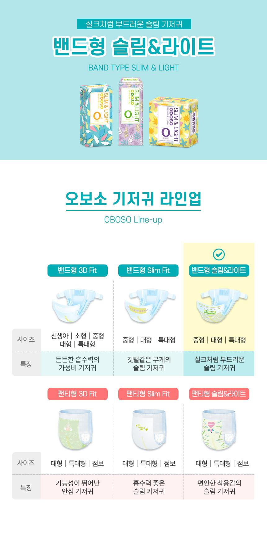밴드형슬림앤라이트-타이틀,기저귀라인업