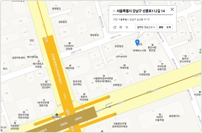 회사 위치를 표시한 지도