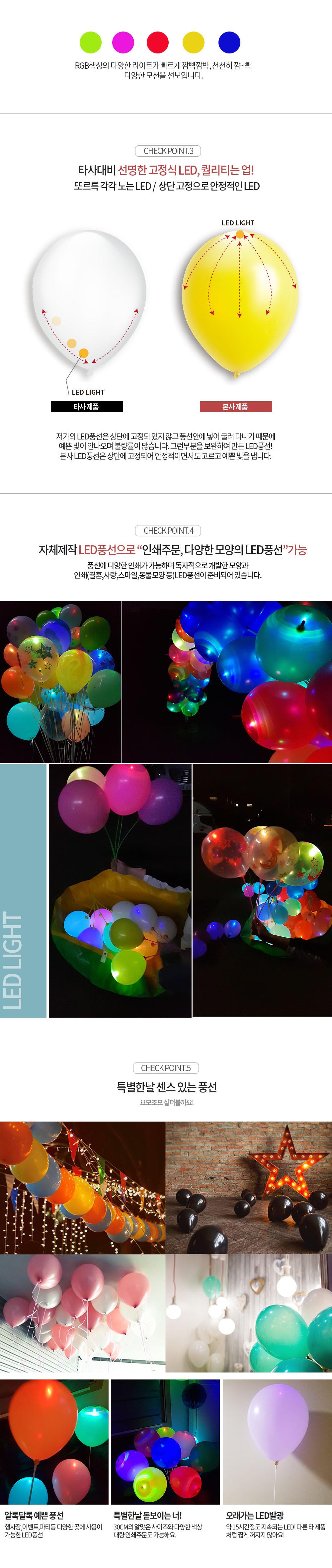 LED 30cm 그린풍선 - 파티클럽, 4,000원, 파티용품, 풍선/세트
