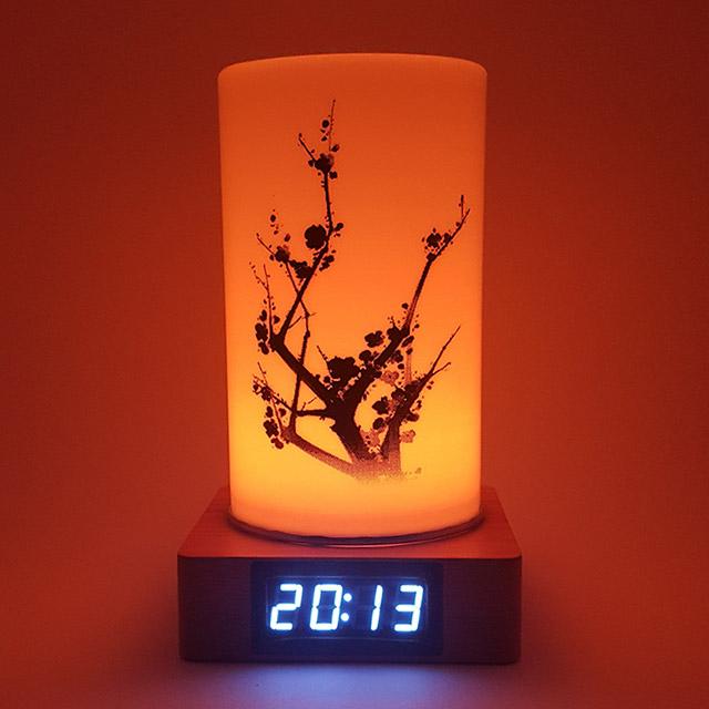KCT17040009 매화 원목 LED무드등 전자탁상시계