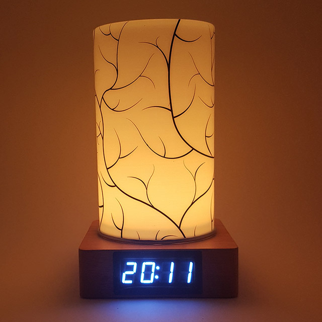 KCT17040010 나뭇가지  원목 LED무드등 전자탁상시계