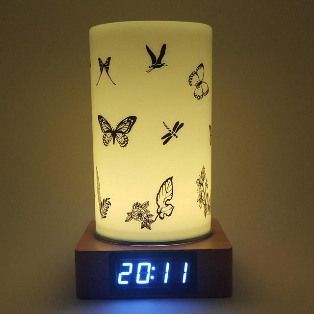 KCT17040013 나비 원목 LED무드등 전자탁상시계