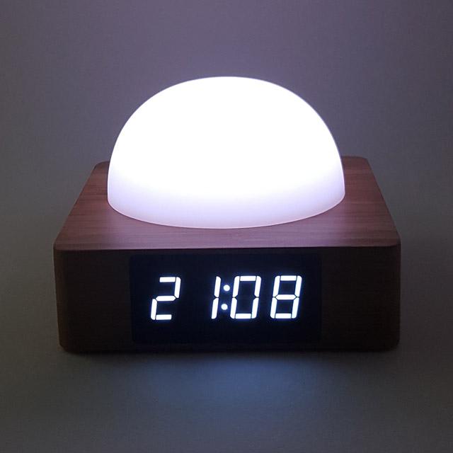 KCT17040016 실리콘돔 원목 LED무드등 전자탁상시계