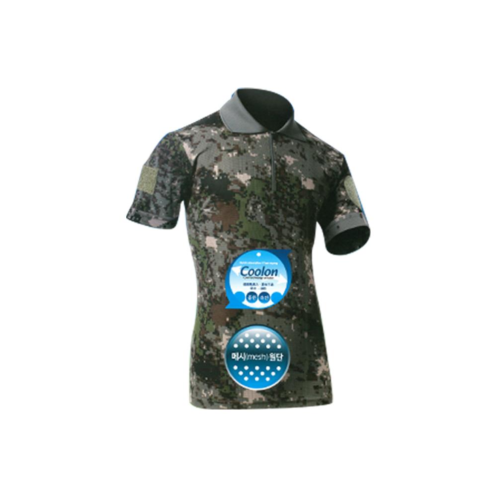 COOLON 쿨론 카키 넥카라티셔츠/군인 군대 디지털 티셔츠