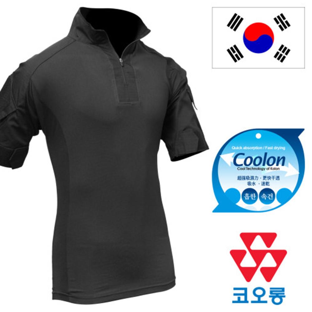 국산 전술 컴뱃셔츠 블랙 반팔티 택티컬 밀리터리