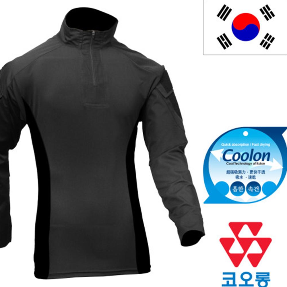 국산 전술 컴뱃셔츠 블랙 긴팔 택티컬 밀리터리 군인