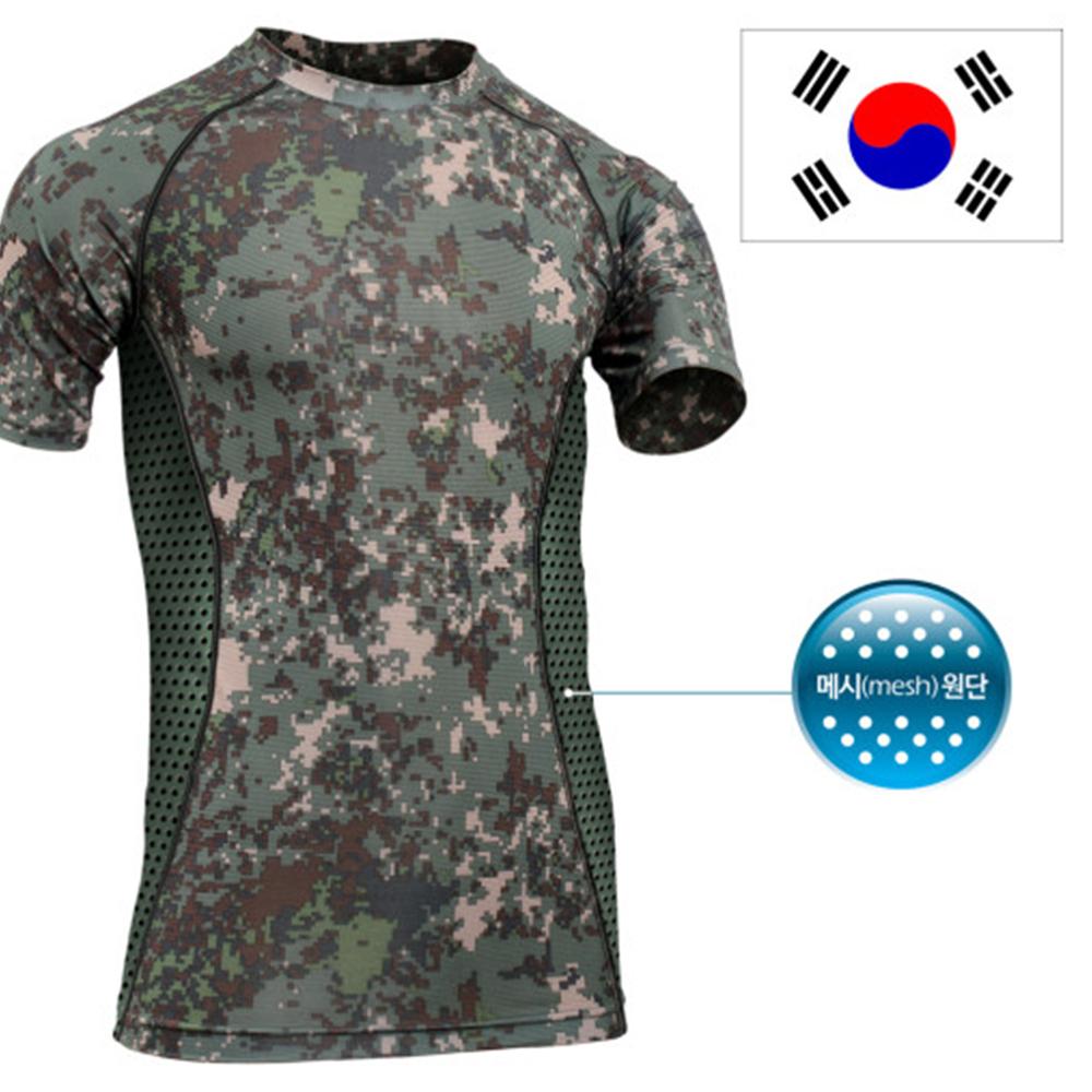 국산 쿨론 래쉬가드 디지털 반팔 티셔츠/로카 군인 군대