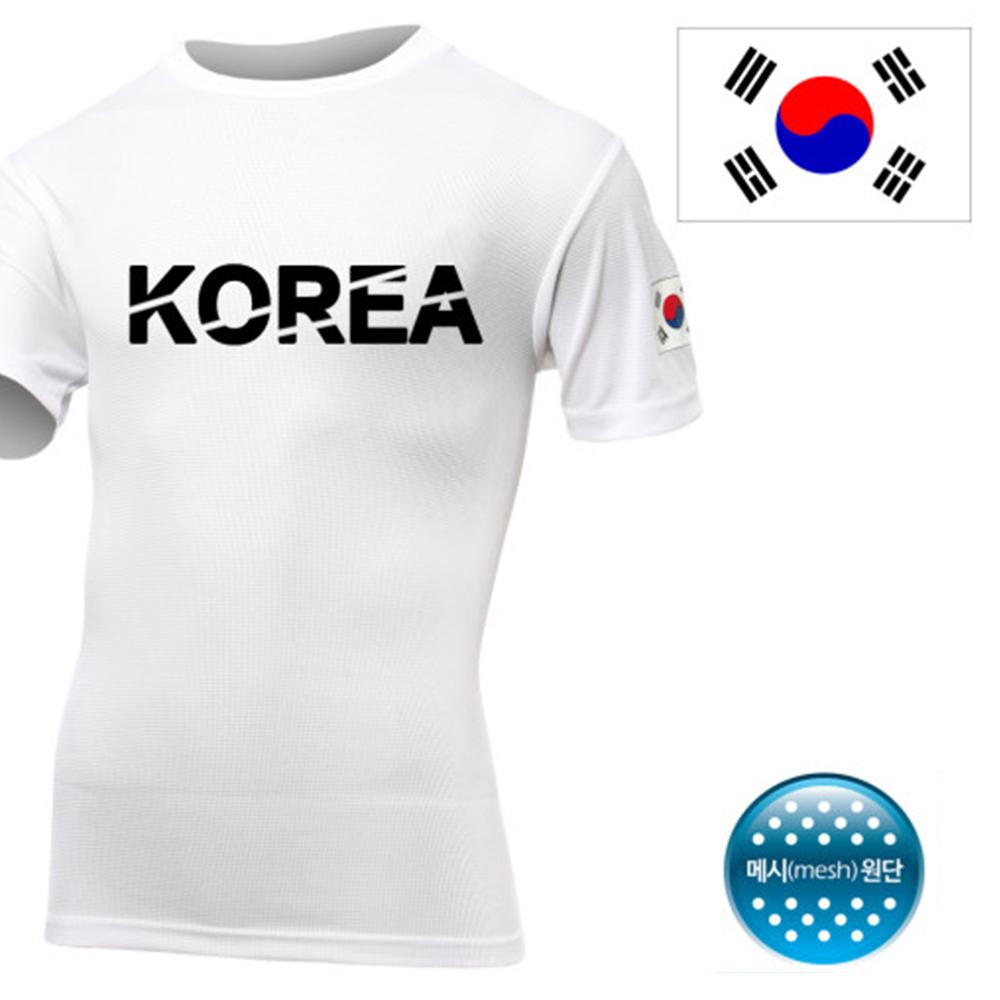 쿨론 KOREA 코리아 반팔 흰색 티셔츠/쿨티셔츠 코오롱